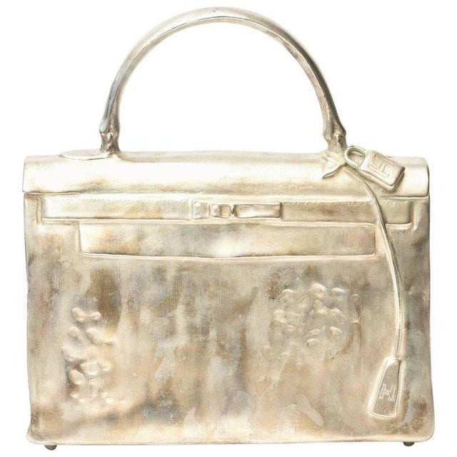 Silvered Bronze Limited Edition French Christian Maas Birkin Bag Sculpture For Sale - Image 11 of 11
