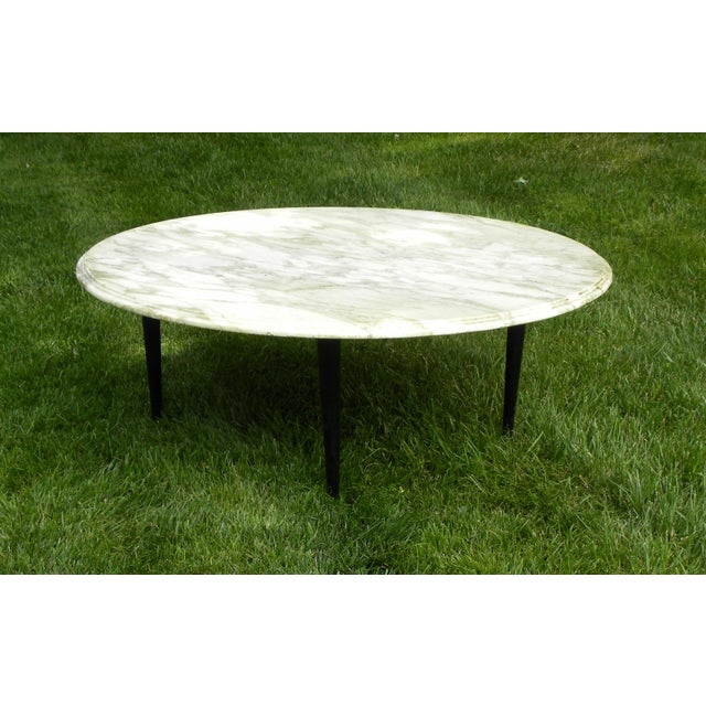 Vintage Mid-Century White Marble Coffee Table - Image 3 of 8