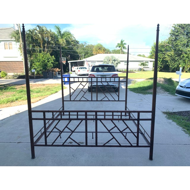 Vintage Chinese Chippendale Faux Bamboo Metal King Bed Frame For Sale - Image 10 of 10