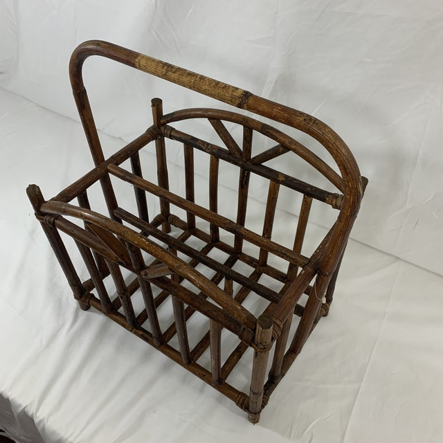 Rustic English Bamboo Magazine Rack Ca 1900-1920 For Sale - Image 3 of 9