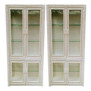 Vintage White Wicker Ficks Reed Style Tall Glass Shelf Display Cabinets Etageres- a Pair For Sale