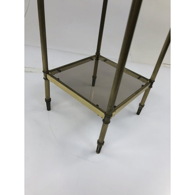 Brass Mid Century Brass Two Tier Glass Side Table For Sale - Image 7 of 13