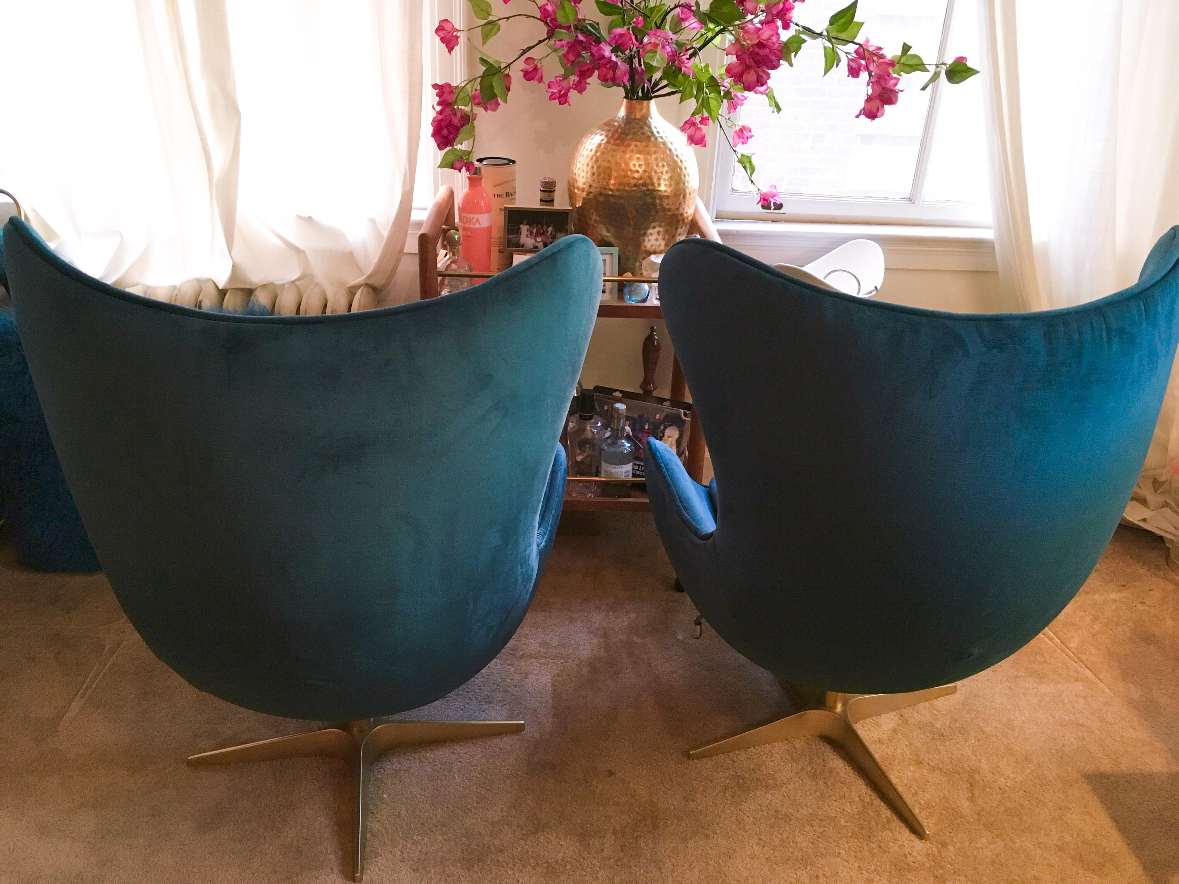 Blue Mid Century Blue Velvet And Gold Egg Chairs   A Pair For Sale