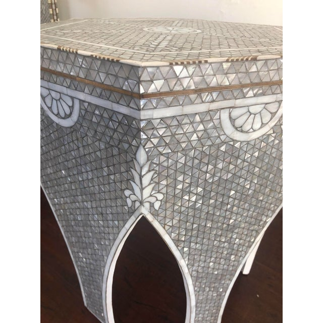 2000 - 2009 Contemporary Mother of Pearl Inlay Hexagonal Side Table For Sale - Image 5 of 8