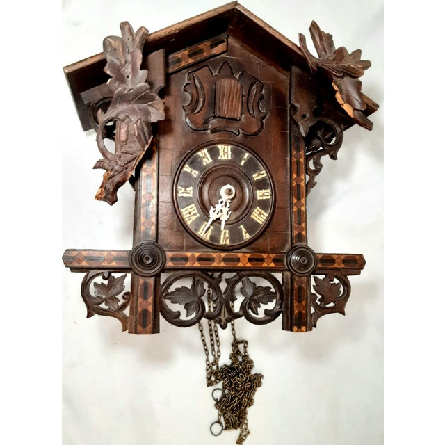 Rustic Early 20th Century Black Forest Carved Cuckoo Clock For Sale - Image 3 of 11