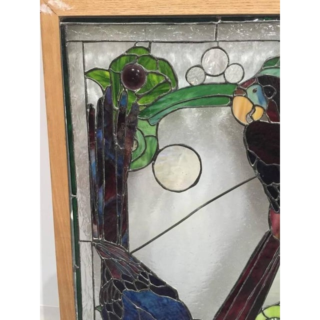 Stained Glass of Two Parrots in Wood Frame For Sale - Image 4 of 10