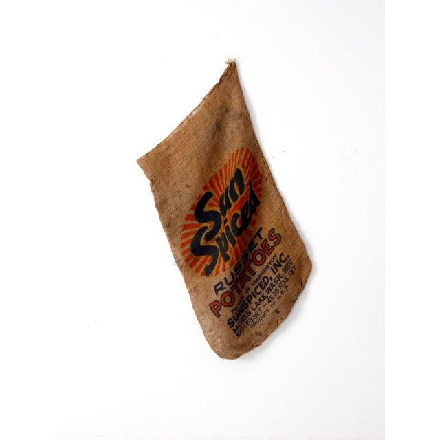 Textile Vintage Burlap Potato Sack For Sale - Image 7 of 7