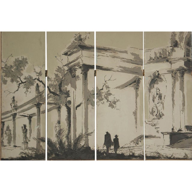 Mid 20th Century Vintage French Wallpaper Screen 1950 For Sale - Image 5 of 5