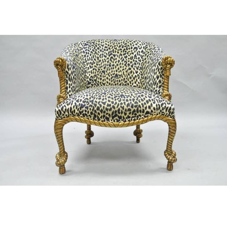 Napoleon III Style Gilded Leopard Print Rope And Tassel Chair And Ottoman