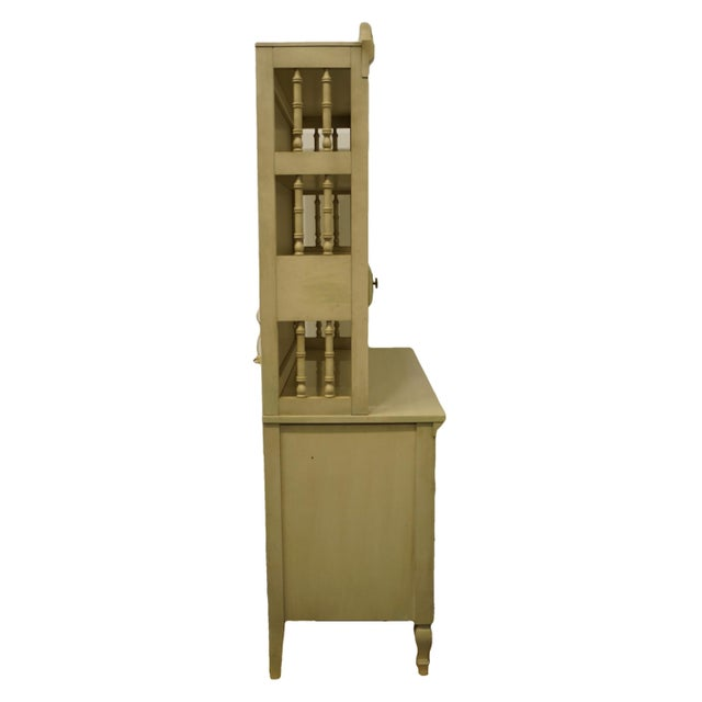 French Provincial Dixie Furniture Cream Painted Double Dresser with Bookcase Hutch For Sale - Image 9 of 11