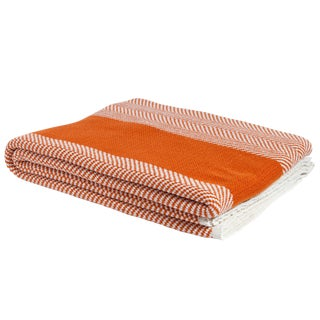 Eco Poly Herringbone Stripe Orange & Ivory Throw