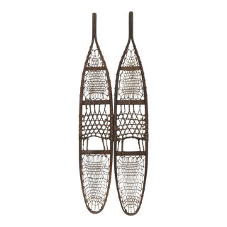 Antique New England Rawhide & Leather Snowshoes - a Pair For Sale