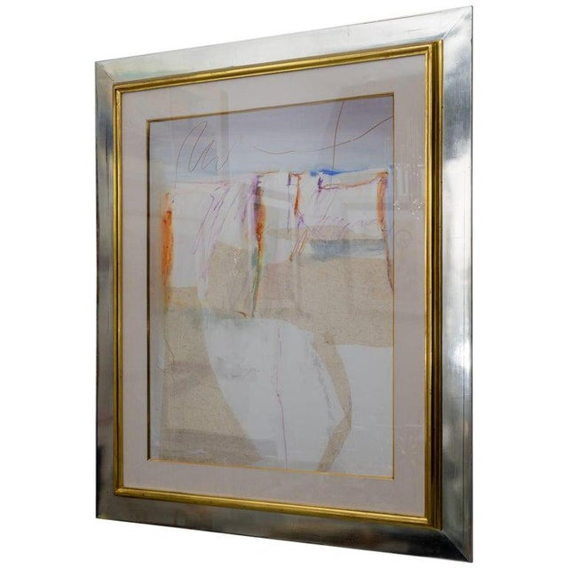 This stylish, large scale mixed media on paper artwork is by the American artist Harold Edward Larsen (b.1935) and was...