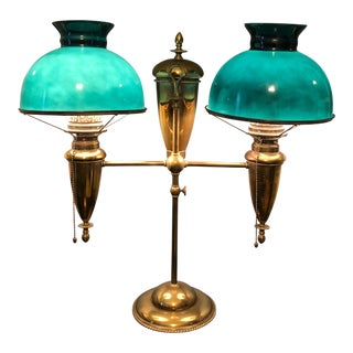 19th Century Traditional Bradley & Hubbard Double Brass Student Lamp For Sale