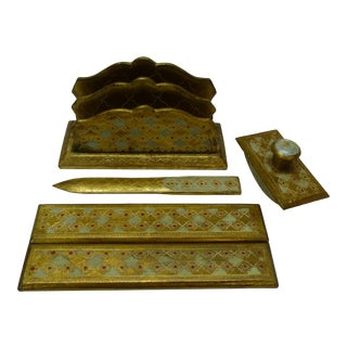 Vintage Italian Florentine Light Green & Gold Hand Painted Finish Desk Set - 5 Piece Set For Sale