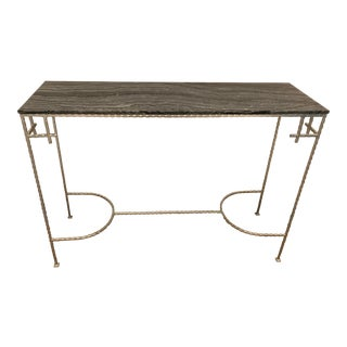 Mid-Century Modern Marble and Silver Leaf Sofa Table For Sale