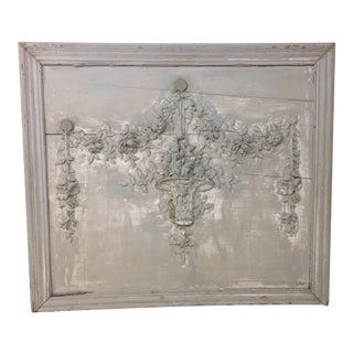 Vintage European Framed Wooden Basket and Garland Panel For Sale