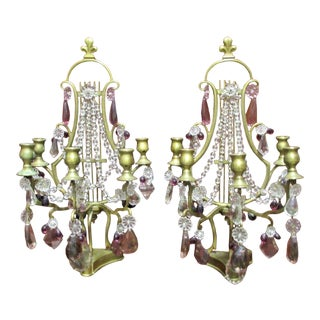 Antique 19th Century French Maison Bagues Style Regency Bronze With Crystal Girandoles/Table Lamps a - Pair For Sale