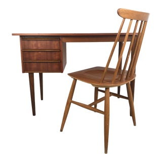 Danish Mid Century Modern Teak Desk and Chair - 2 Pieces For Sale