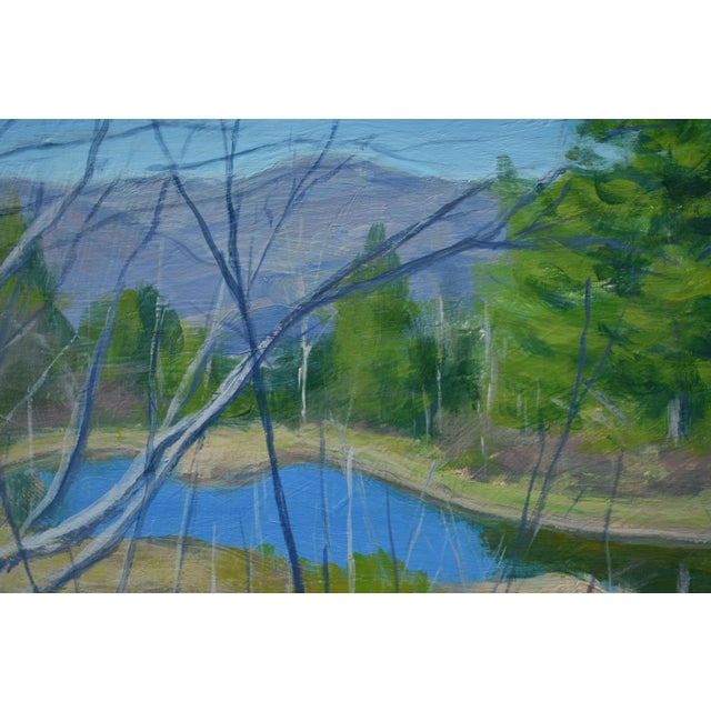 """Stephen Remick """"Canoe With Pond and Mountains"""" Original Stephen Remick Painting For Sale - Image 4 of 9"""