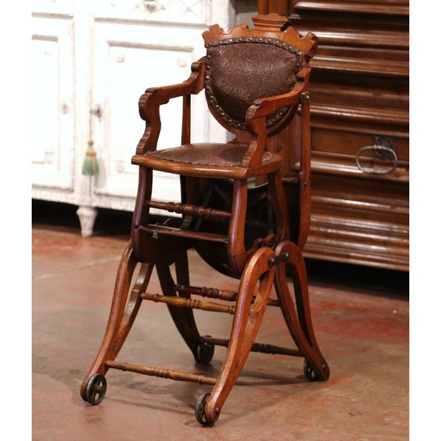 Late 19th Century 19th Century English Carved Walnut and Leather Adjustable High Chair Rocker For Sale - Image 5 of 13