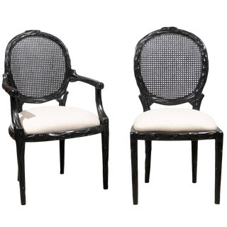Louis XVI Round Cane Back Dining Chairs - Set of 6 For Sale