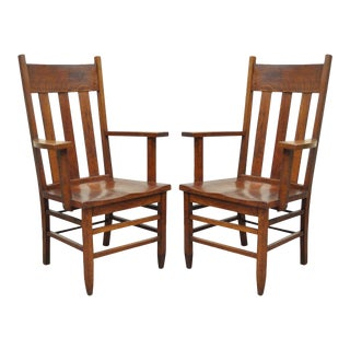 Antique Pair of Culler Furniture Pa Mission Arts & Crafts Shaker Oak Arm Chairs