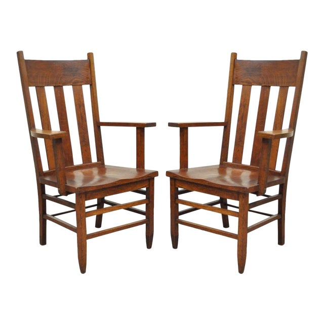 Antique Pair of Culler Furniture Pa Mission Arts & Crafts Shaker Oak Arm  Chairs For Sale - Antique Pair Of Culler Furniture Pa Mission Arts & Crafts Shaker Oak