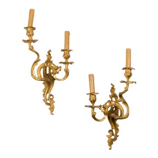 Bronze Louis XV French Style Sconces - a Pair For Sale