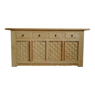 Carved Door Raw Wood Sideboard For Sale