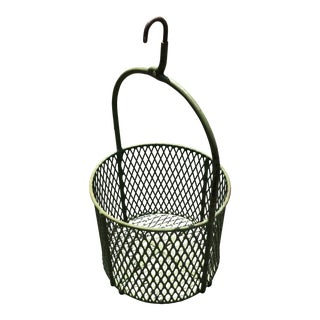 1940s Industrial Green Painted Basket For Sale