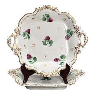 A Pair of Square Dessert Dishes, England 19th Century For Sale
