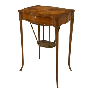 19th Century English Mahogany & Satinwood Marquetry Sewing Work Table For Sale