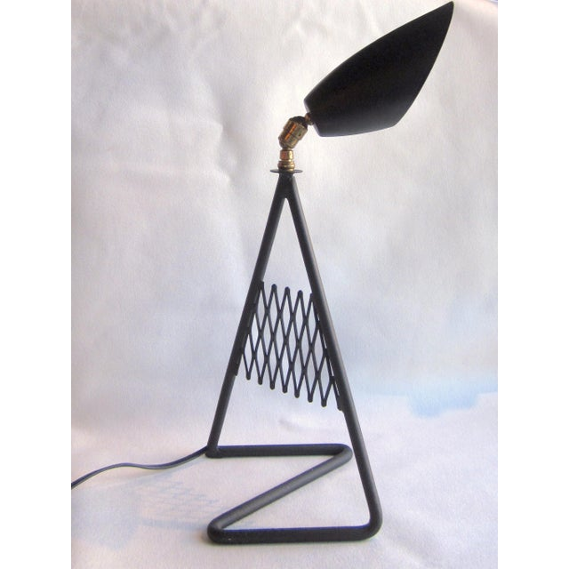 1950s French Vintage Mid-Century Modern Matte Black Aluminum Zig Zag Base Lattice Lamp For Sale - Image 10 of 10