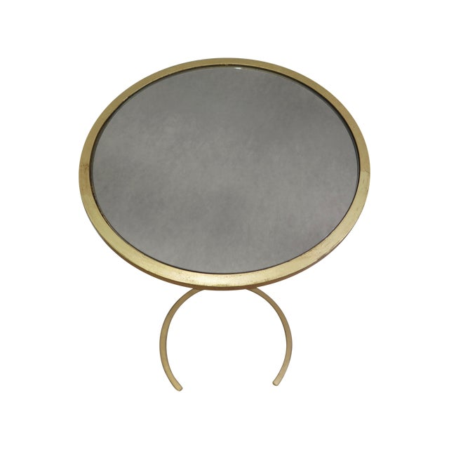 Gold U Shaped Base With Mirrored Top Side Table - Image 1 of 3