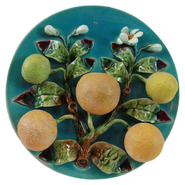 Menton French Majolica Wall Plaque on a Turquoise Ground With Oranges, Ca. 1880 For Sale - Image 10 of 10