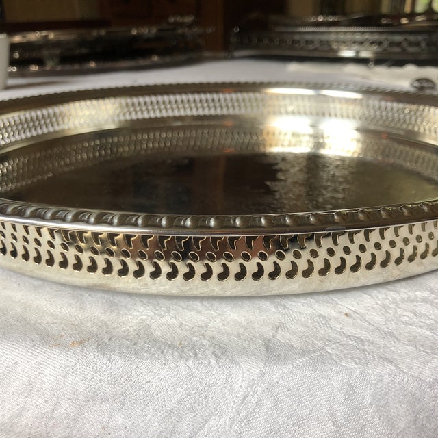 Silver Wm Rogers Silver-Plated Round Pierced Gallery Tray For Sale - Image 8 of 11