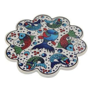 Turkish Handmade Iznik Pattern Ceramic Coaster For Sale