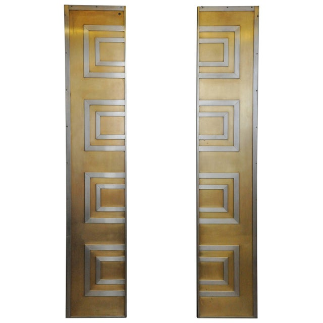 Gold Glamorous Bronze and Stainless Entry Doors For Sale - Image 8 of 8