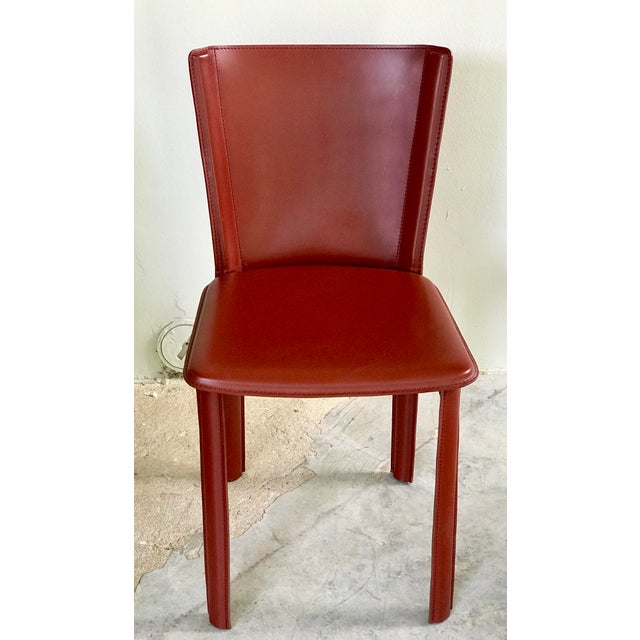 """Design Within Reach DWR Red """"Bottega"""" Side Chairs - Set of 4 For Sale - Image 4 of 8"""