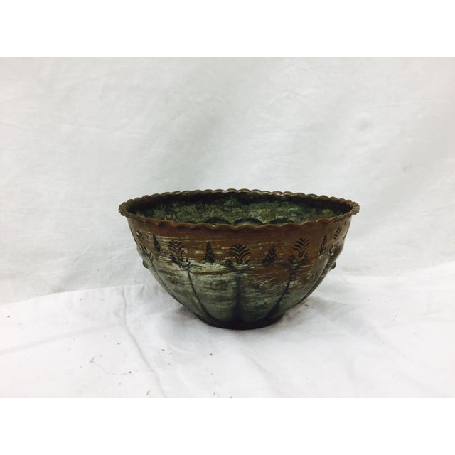 Copper Antique Etched Copper Bowl For Sale - Image 8 of 9