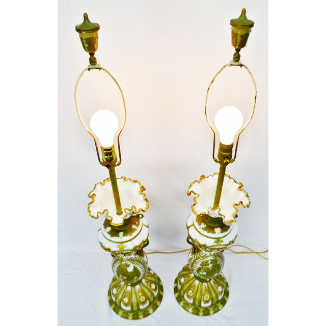Vintage Hand Painted French Opaline Glass Table Lamps - A Pair Condition consistent with age and history. Some loss to...