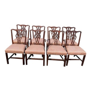 Chippendale Style Mahogany Councill Cambridge Dining Chairs - Set of 8 For Sale