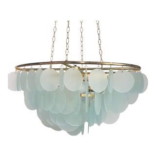 Modern Aqua Glass Disc Chandelier For Sale