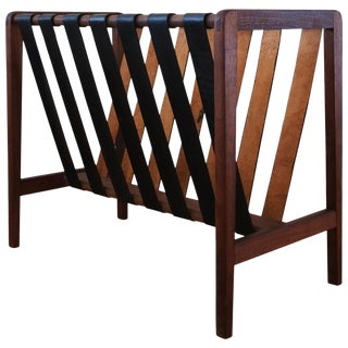 Wood and Leather Strap Magazine Rack For Sale