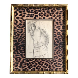 Original Vintage Abstract Charcoal Figure Study Drawing Ornate Frame Leopard Mat For Sale