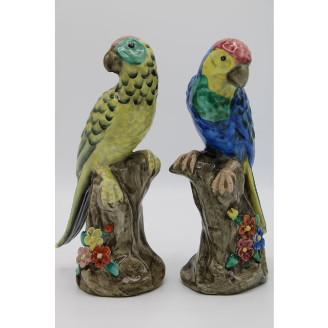 Blue and Green Ceramic Parrot Bird Figurines - a Pair For Sale - Image 12 of 12