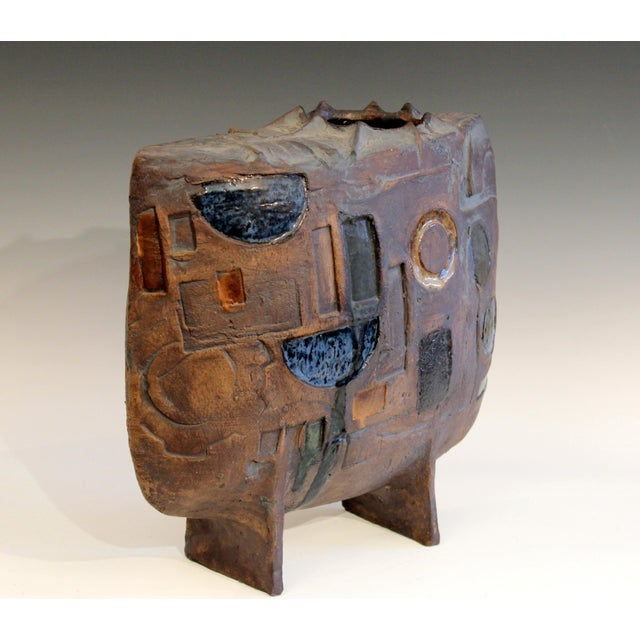 Mid-Century Modern Extraordinary Studio Pottery Geometric Carved Vessel Vase Signed Large Sculpture For Sale - Image 3 of 8