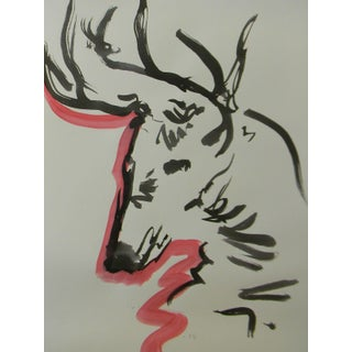 """""""Red Deer Antlers"""" Contemporary Abstract Ink Wash Painting by Jose Trujillo For Sale"""