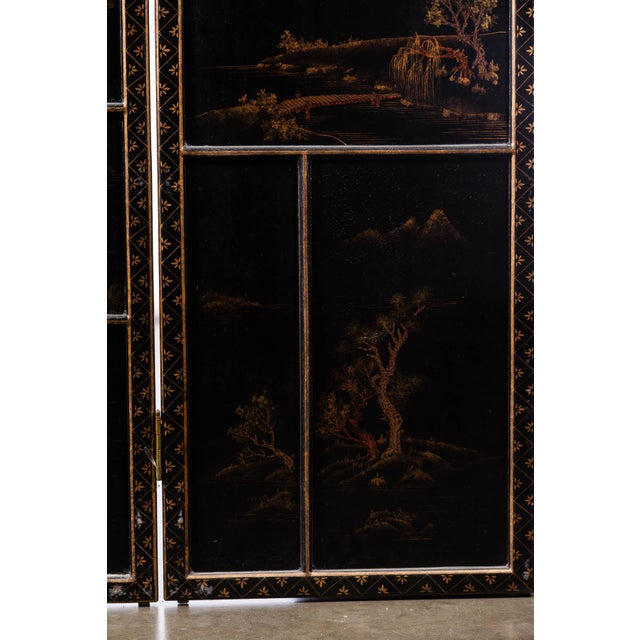 Wood Japanese Large Four-Panel Landscape Scenes With Individual Raised Frames Screen/Room Divider 6 Ft W X 6.5 Ft H by Lawrence & Scott For Sale - Image 7 of 12